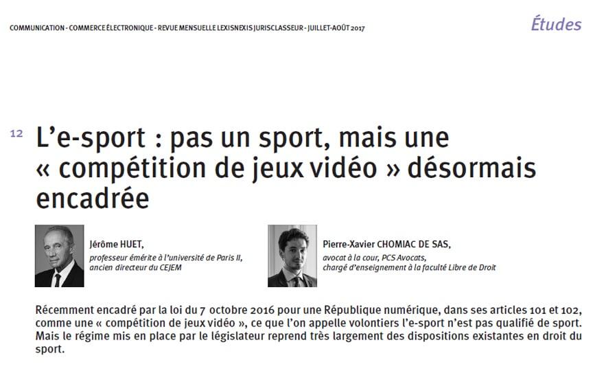 Esport & compétition de jeux vidéo - LexisNexis - Commerce Electronique