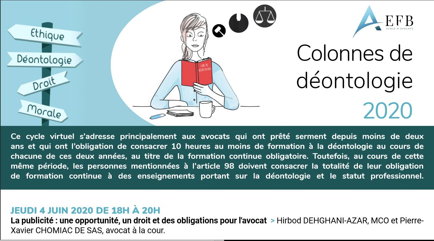 colonnes de Déontologie 2020 : Intervention sur la publicité des avocats - EFB