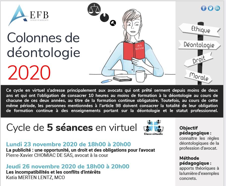 EFB Formation : Publicité et communication des avocats - Colonnes de déontologie